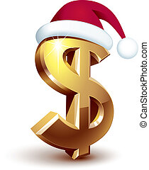 Gold dollar sign with Santa hat. Eps8. CMYK. Organized by layers. Global colors. Gradients used.