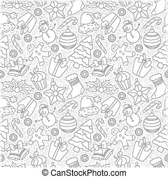 Christmas doodle seamless background