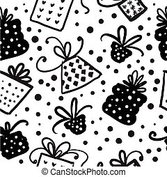 Christmas doodle seamless pattern.