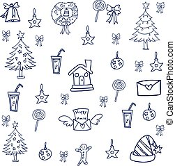 Christmas doodle set vector art