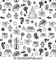 Christmas doodles seamless black on white 2
