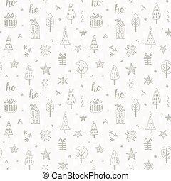 Christmas doodles seamless pattern