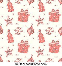 Christmas doodles seamless pattern. Scandinavian style