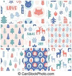 Christmas doodles seamless pattern set