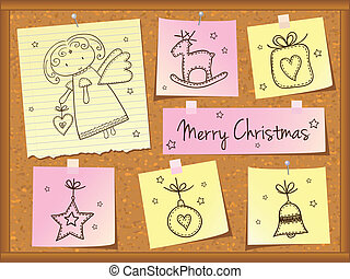 Christmas doodles with angel on cork board