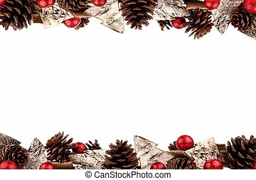 Christmas Double Border With Rustic Wood Tree Ornaments On White