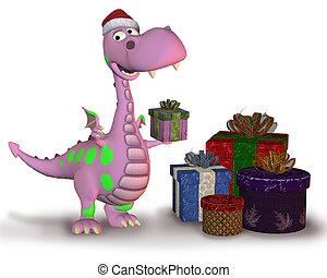 Christmas Dragon with Gifts