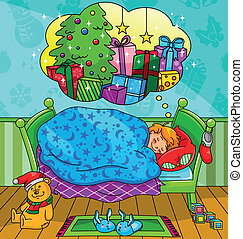 christmas dream - little boy dreaming of getting many ...