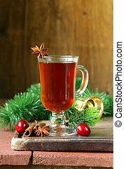 Christmas drink tea with cinnamon
