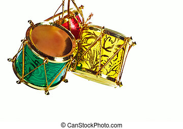 Christmas drums - Drums Christmas decorations, isolated on a...