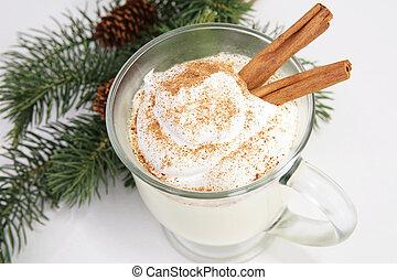Christmas Eggnog with Cinnamon Sticks