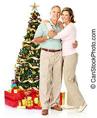 Christmas elderly couple