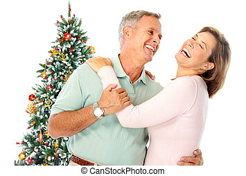 Christmas elderly couple