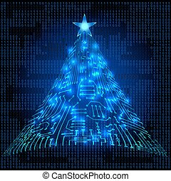 Christmas electronic circuit tree - Christmas fur tree from...