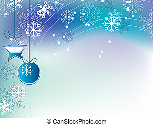 Christmas elegant blue background with hanging balls