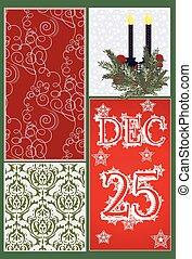 Christmas Elegant Ornamented card Vector