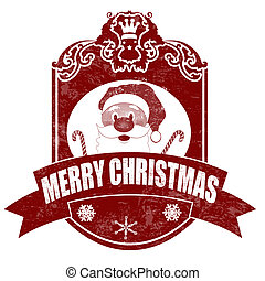 Christmas elegant vintage stamp with santa on white background, vector illustration
