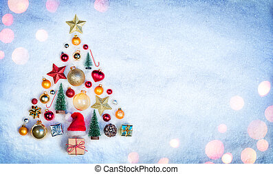 Christmas Element In Shape Tree On Snow