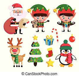 Christmas elements and vector characters like santa claus, elf ans reindeer