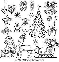 Christmas elements, black silhouettes
