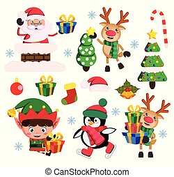 Christmas elements flat vector set with santa claus, elf and reindeer characters