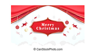 Christmas elements hanging with Red curtains background