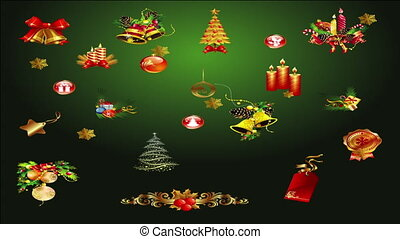 Christmas elements on green background