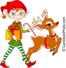 Christmas elf and Rudolph - Christmas elf carries gifts...