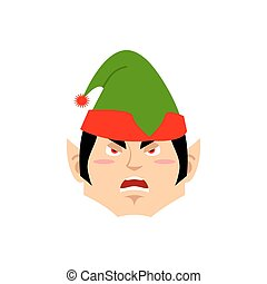 Christmas Elf angry Emoji. Santa helper aggressive emotion .