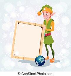 Christmas Elf Boy Cartoon Character Santa Helper Hold Empty...