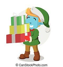 Christmas elf bringing presents