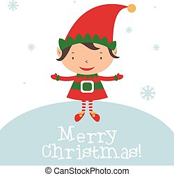 Christmas Elf Card template. Vector