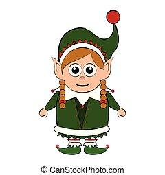 Christmas elf cartoon character