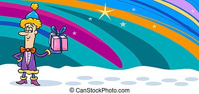 christmas elf cartoon greeting card