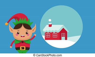 Christmas elf cartoon HD animation - Christmas elf and house...