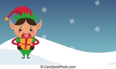 Christmas elf cartoon HD animation - Christmas elf holding...