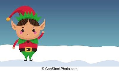 Christmas elf cartoon HD animation - Christmas elf on winter...