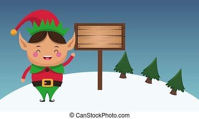 Christmas elf cartoon HD animation - Christmas elf with...