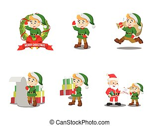 christmas elf cartoon set