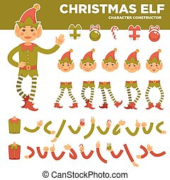 Christmas elf character constructor with body parts set