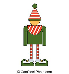 Christmas Elf Character Icon Symbol Design. Vector illustration of elf silhouette  isolated on white background. Simple shape style. Flat design.