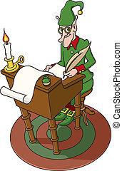 Christmas Elf - Vector illustration of one of Santa%u2019s...