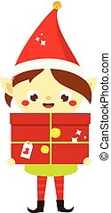 Christmas elf. Cute Santa's helper holding big present....