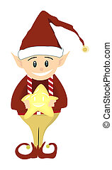 Christmas Elf Holding a Smiling Star - Illustration with...