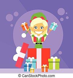 Christmas Elf Female Cartoon Character Little Gril Santa Helper