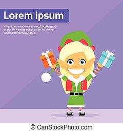 Christmas Elf Female Cartoon Character Little Gril Santa...
