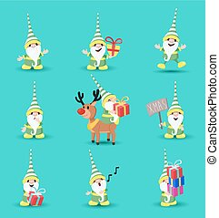 Christmas elf funny holiday cartoon set