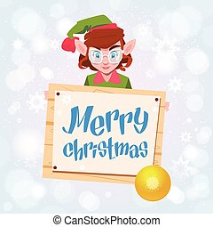 Christmas Elf Girl Cartoon Character Santa Helper Hold Sign...