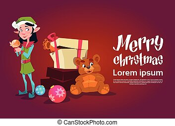 Christmas Elf Girl Cartoon Character Santa Helper With Present Box