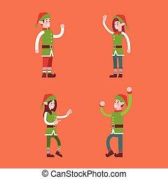 Christmas Elf Group Cartoon Character Santa Helper Set